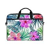 Ahomy Watercolor Tropical Hawaii Flores patrón 14 – 15,4 Pulgadas Multifuncional Tela Impermeable portátil Bolsa maletín Bandolera Bandolera