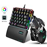 FOONEE Teclado y Gaming Ratón para PS4 Una Sola Mano Ergonomica, LED Retroiluminación 35-Key Mini Portatil Teclado Profesional para Xbox One, PS4, PS3, Switch y Windows PC