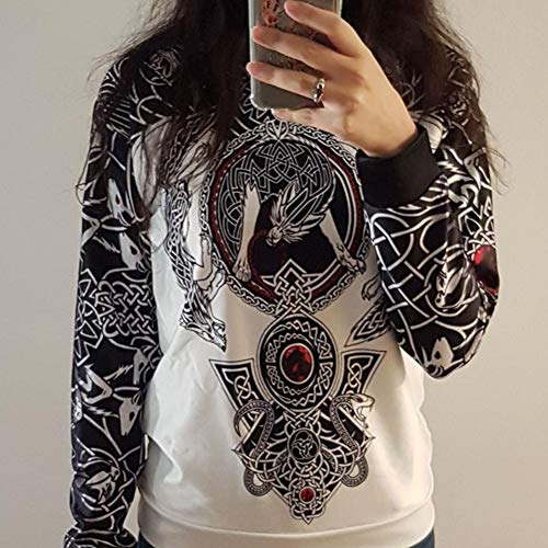 Men's Long Sleeve Viking Tattoo 3D Printed Hoodie, Norse Mythology Odin Thor's Hammer and Celtic Dragon Pattern Pullover Sweatshirt, Autumn Unisex Hip Hop Street Jacket,Hoodie Zip,L