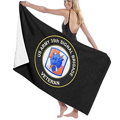 WH-CLA Pool Towel Army 35Th Signal Brigade con Airborne Tab Veteran Yoga Absorbente Ligero Impreso Piscina De Viaje Al Aire Libre Gimnasio Acogedor Toalla De Playa 80X130Cm Secado Rápido