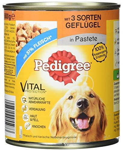 Pedigree Hundefutter Nassfutter mit 3 Sorten Geflügel in Pastete, 12 Dosen (12 x 800g)