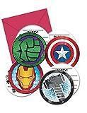 Procos PR87970 Einladungen in Umschlag, 4 Designs, mehrfarbig, 6 Stück