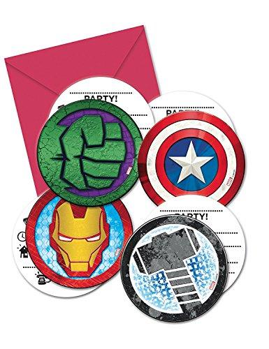 Procos PR87970 Einladungen im Briefumschlag, 4 Motive, Mighty Avengers, 6 Stück, mehrfarbig