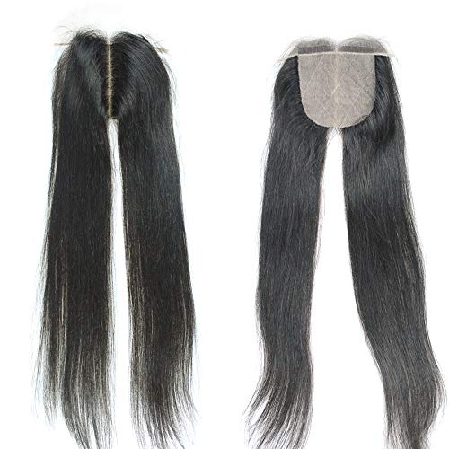SHANELL Hair Silk Base Top Closure Straight Bleached Hidden Knots Middle Part 4x4' With Baby Hair Unprocessed Peruvian Virgin Silky Straight Human Hair Closure 10inch