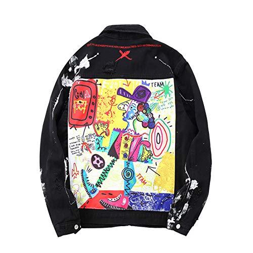 Ctyg Chaqueta Vaquera De Patchwork Estampada Graffiti Suelta para Hombre Chaqueta De Mezclilla Acanalada Pintada De Moda Abrigo Superior Negro