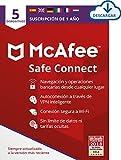 McAfee SafeConnect VPN 2021, 5 Dispositivos, 1 Usuario, 12 Meses, PC/Mac, Código de activación enviado por email