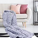Chunky Knit Throw Blanket | 47' x 60' | Soft Chenille Yarn Knitted Blanket | Crochet Knitted Blanket Throw for Warmth | Perfect for Bed, Couch, Sofa, Chair, and Snuggles