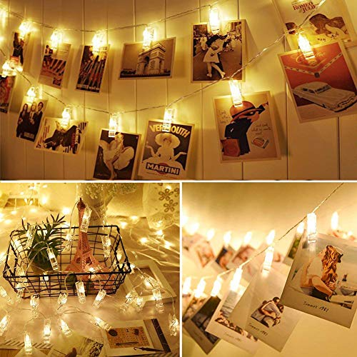 VENNKE 50 LED Photo Clips String Lights, Dimmable 9 Modes Remote & Timer Function Dual Powered Choice, Fairy Wedding Party Christmas Decor Lights for Hanging Photos Pictures Cards Artworks(N01) 3