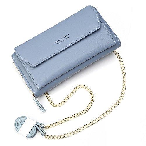 Geldbörse Damen Leder Brieftasche mit eingearbeiteter Kette, Lang Portmonee Clutch Handy Geldbeutel Reißverschluss, Multifunktion Portemonnaie Schutz Hülle für Samsung iPhone Huawei Telefon (Blau)