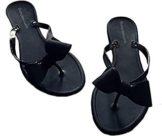 Womens Flip Flops Bow Jelly Sandals Dress Summer Beach Shoes Thong Slippers
