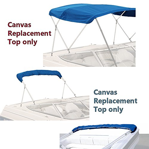 """SavvyCraft 4 Bow Bimini Replacement Top Canvas Cover 4 Bow 96"""" L 97""""-103"""" W Blue Color with Zippered Pockets"""