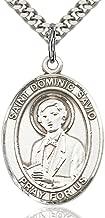 Heartland Store Men's Pewter Oval Saint Dominic Savio Medal + USA Made + Chain Choice
