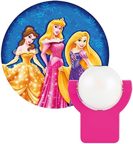 Projectables Disney Princess 6-Image LED Night Light Projector, Dusk-to-Dawn Sensor, Project Princesses Cinderella, Ariel, Aurora, Belle, & Rapunzel on Ceiling, Wall, or Floor, Pink/Purple, 11738