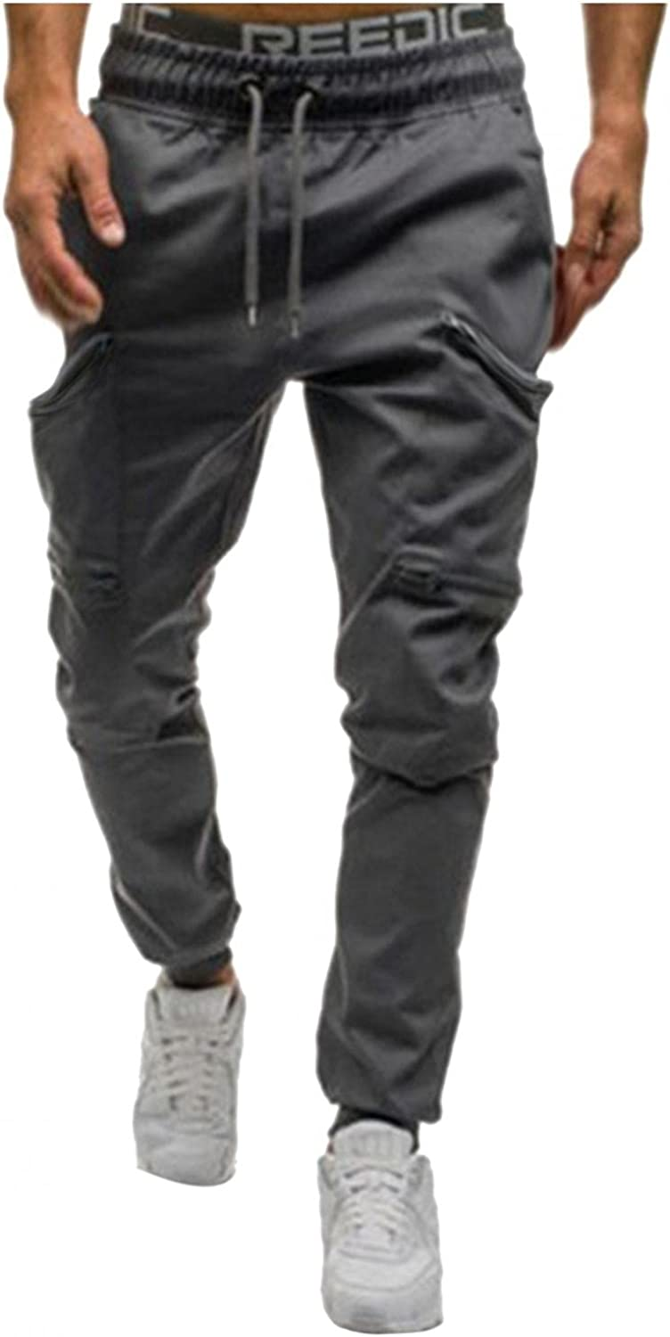 Beshion Sweatpants for Men Joggers Slim Active Athletic Pants Solid Pocket Stitching Bottom Lightweight Track Trousers