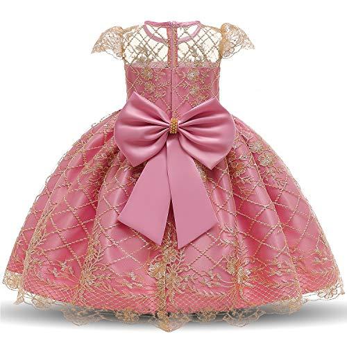 NNJXD Niña Elegante Flor Bordado Tul Fiesta Boda Princesa Vestido Talla(140) 7-8...