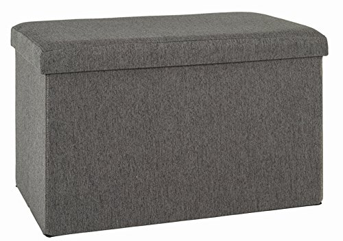 PEGANE Pouf/Coffre de Rangement Pliable Coloris Anthracite - Dim : L 65 x H 40 x P 40 cm