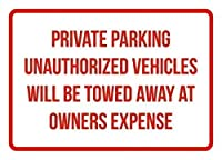 レトロなヴィンテージメタルティンサインインチ、プライベートパーキング車両が牽引されます、パークサインパークガイドABC警告サイン私有財産の金属屋外危険サイン