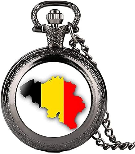 DNGDD Reloj de Bolsillo Reloj de Bolsillo de Cuarzo Negro Vintage para Hombre, Relojes de Bolsillo con patrón de Mapa de Bélgica Creativo para Mujer, Cadena de Reloj de Bolsillo de aleación durade