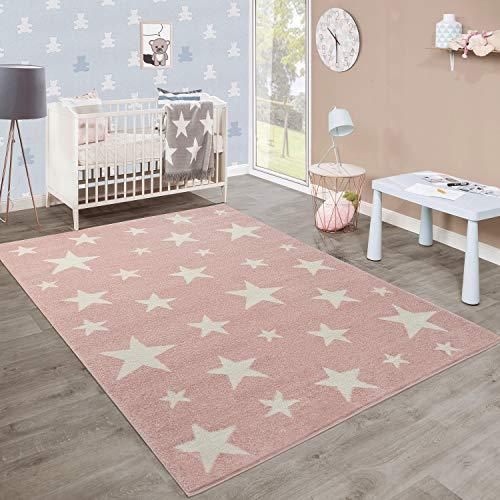 Moderna Alfombra Pelo Corto Estrellas Habitación Infantil Pastel Rosa Blanco, tamaño:80x150 cm
