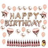 """Hotchy Geburtstag Dekoration Rosegold, Geburtstagsdeko Set mit 16' Happy Birthday Banner, 20pcs 12"""" Konfetti Latex Ballons und 4pcs 18' Folie Herz Sterne Ballons mit Gold String für..."""