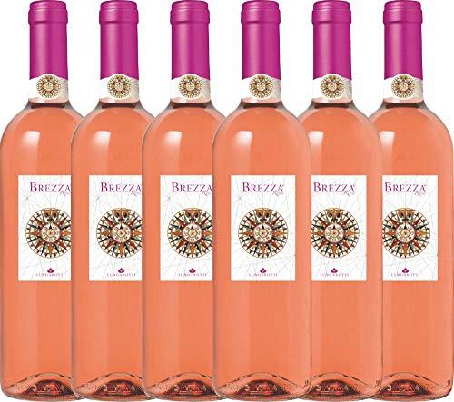 VINELLO 6er Weinpaket Rosé - Brezza Rosa 2020 - Lungarotti mit Weinausgießer   trockener Roséwein   italienischer Sommerwein aus Umbrien   6 x 0,75 Liter