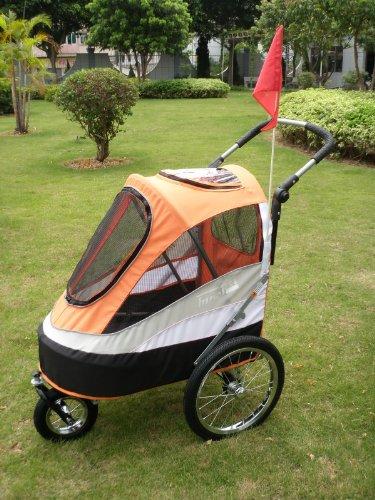 InnoPet IPS-050 Orange Hundebuggy Dogtrailer Anhänger für Hunde Hundewagen 'Sporty Trailer AT' hochwertiger Fahrradanhänger für Hunde wandelbar in Hundebuggy mit regenhaube