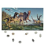 Wooden Jigsaw Puzzle, Dinosaurs Jurassic World Wood Puzzle, Pteranodon Apatosaurus Bactrosaurus Abelisaurus Jigsaw Game, Ideal Gift for Kids, Best Family Game Activity, 252, 300 and 504 Puzzle Pieces