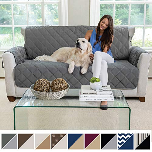 MIGHTY MONKEY Premium Reversible Small Sofa Protector for Seat Width up to 62 Inch, Furniture Slipcover, 2 Inch Strap, Couch Slip Cover Throw for Pets, Dogs, Kids, Cats, Sofa, Charcoal Light Gray