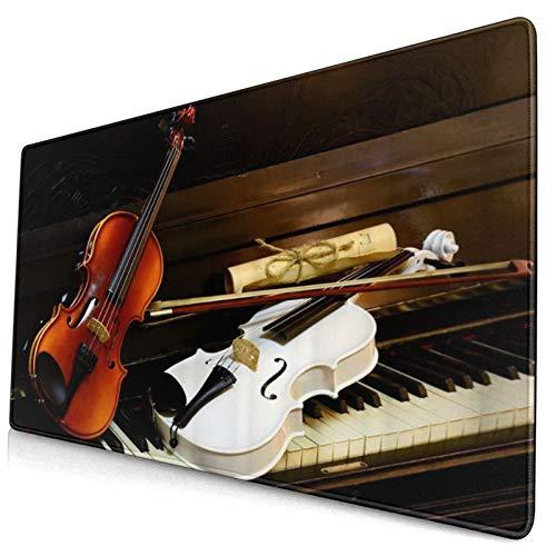 SURERUIM Tappetino Mouse, I Tasti del Pianoforte Bianco Sono Uno spartito Vintage per violini Bianchi e Legno Mouse Pad Tappetino Mouse Gaming Grande Pad con Base in Gomma Antiscivolo,750×400×3mm