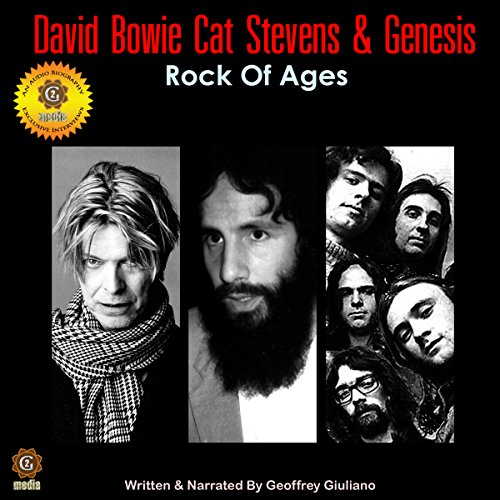 David Bowie, Cat Stevens, and Genesis audiobook cover art