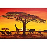 GREAT ART® Mural De Pared ? Puesta De Sol África ? Foto Tapiz Imagen Mural Silueta Animal Elefante Jirafa Búfalo Sabana Estepa Pradera Paisaje Africa Sunset (210 X 140 Cm)