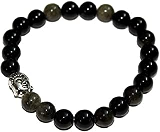 Spiritual Elementz Reiki Charged Gift Natural Gemstone (7-8 mm) Black Obsidian Gemstone Chakra Stretch Bracelet (21-24 Bea...
