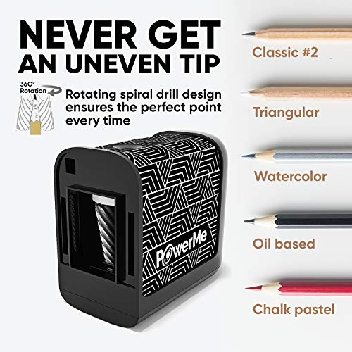 POWERME Electric Pencil Sharpener - Pencil Sharpener Battery Powered for Kids, School, Home, Office, Classroom, Artists – Battery Operated Pencil Sharpener For Colored Pencils, Ideal For No. 2 (Black) Photo #3