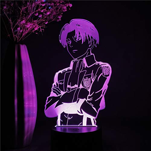 3D stereo notte luce anime attacco su Titan Night Light regalo Camera letto Camera letto Decorazione Levi Ackerman Figura Nightlight LED 3D Lampada tavolo Colorful Night Desk Light Otaku Anime Regali