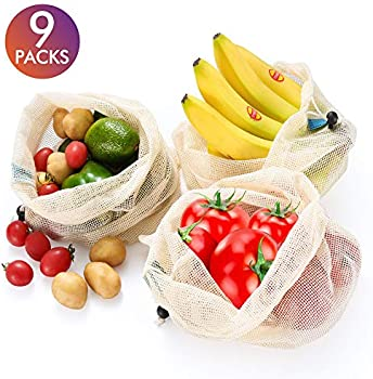 Incok 9-Packs Natural Durable Mesh Produce Bags with Tare Weight
