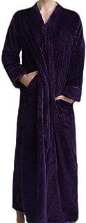 UUYUK Men Winter Thick Full Zip Flannel Loungewear Robe Sleepwear