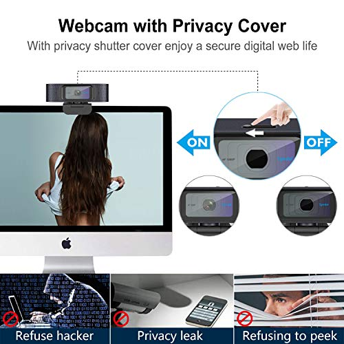 Webcam HD 1080P mit Mikrofon und Abdeckung für die Privatsphäre Autofokus Web Kamera Stream Xbox USB Webcam Computer Kamera für Mac Windows PC Laptop Desktop