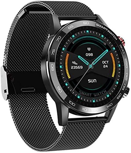 Reloj inteligente para hombre Reloj de mujer Fitness Tracker impermeable ejercicio ritmo cardíaco Monitoreo Podómetro Actividad Tracker-Negro Acero
