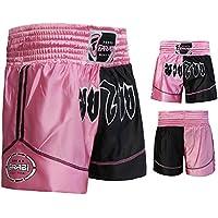 Pantalones Cortos para Boxeo, Muay Thai, Artes Marciales, Color Rosa y Negro (XXS)