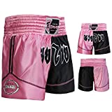 Muay Thai Boxing Kick Boxing Martial Arts Shorts Pink Black Shorts (XS)