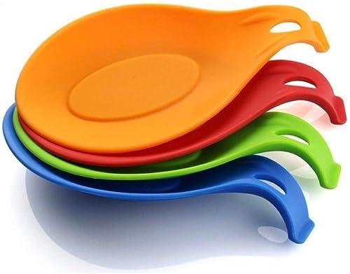iNeibo Kitchen Silicone Spoon Rest, Flexible Almond-Shaped, Silicone Kitchen Utensil Rest Ladle Spoon Holder (Colorfu...