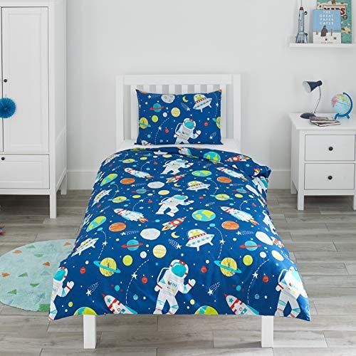 Bloomsbury Mill - Weltraum, Rakete & Planet - Bettwäscheset für Kinder - Bettbezug 135cm x 200cm und Kissenbezug für Einzelbett