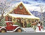 N\A Puzzles Rompecabezas de 1000 Piezas, Juego Educativo para niños Adultos, casa en el Coche de Nieve y muñeco de Nieve, Regalo Educativo DIY Hecho a Mano
