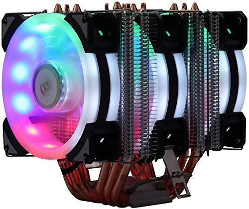 Miwatt 3X90MM CPU-Lüfter mit, mit Ständer, Regenbogenlicht, CPU-Kühler 6 Heatpipes , für Intel und AMD