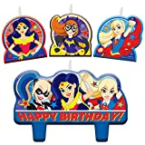 amscan 171609 Multicolor DC Superhero Girls Candle Set, 4ct