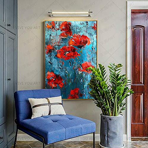 wZUN New Red Orange Plant Flowers Abstract Oil Painting Canvas Artist Home Decoration Wall Picture 60x90 Frameless
