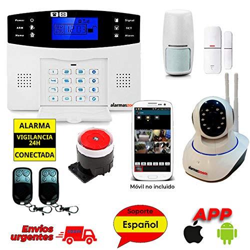 Alarma Hogar AZ028 gsm Castellano sin cuotas para casa. Facil instalación. Asistencia telefónica en Castellano. App con Control Remoto SMS. Facil configuración. Protección y Seguridad hogar (Kit 5)