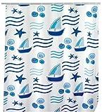 WENKO 19169100 Duschvorhang Boating - hochwertiges Textilgewebe, 120 x 200 cm