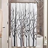 InterDesign Forest Duschvorhang | Designer Duschvorhang in 183,0 cm x 183,0 cm | tolles Duschvorhang Motiv Bäume | Polyester grau/schwarz