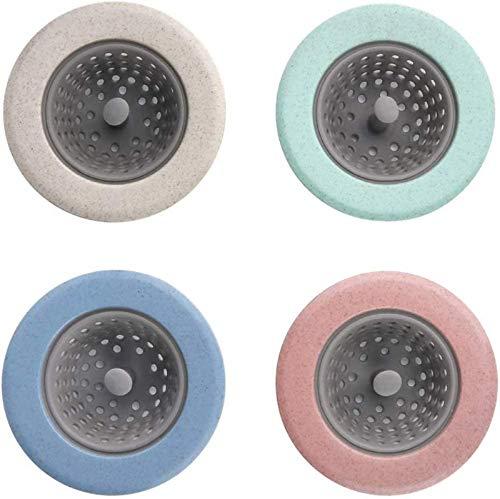 """XYWZ 4PCS Anti-Clog Flexibles Spülbecken-Sieb, Silikon-Spülbecken-Sieb, großer breiter Rand 4,5""""Durchmesser (4 Farben zufällig)"""